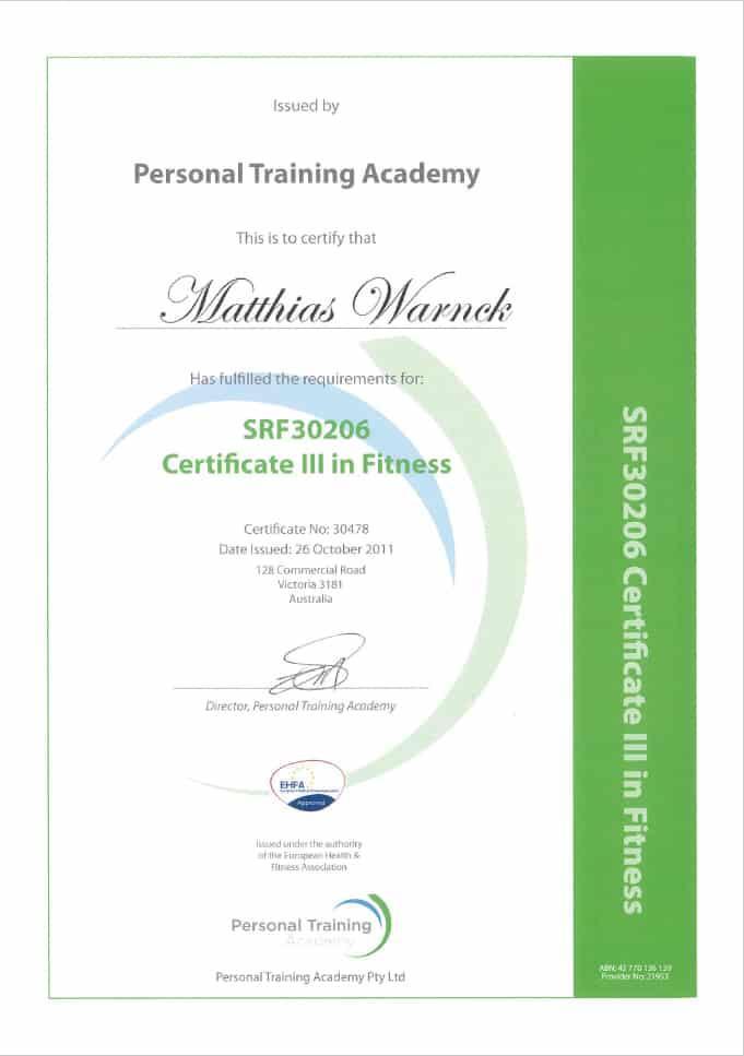 Matthias Warnck - Certificate