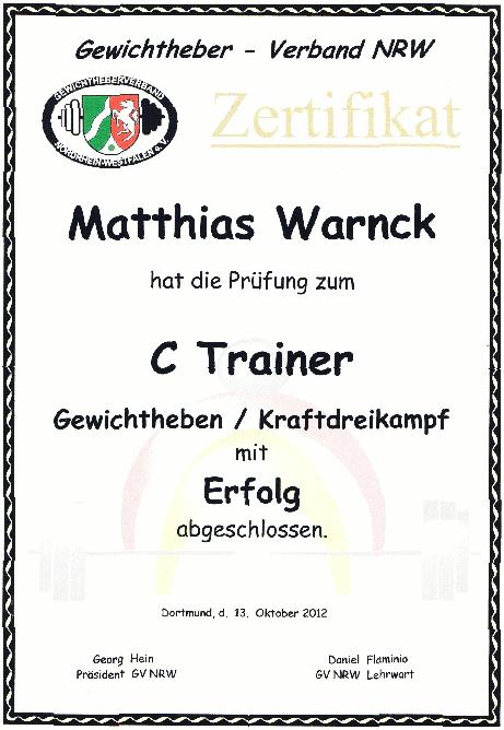 Matthias Warnck - Gewichtheberzertifikat