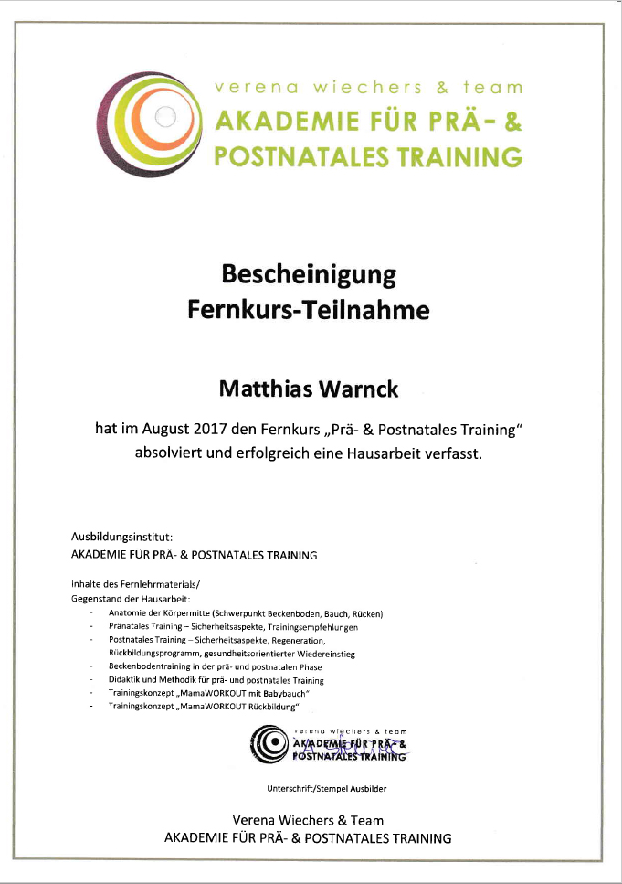 Matthias Warnck - Postnatales Training