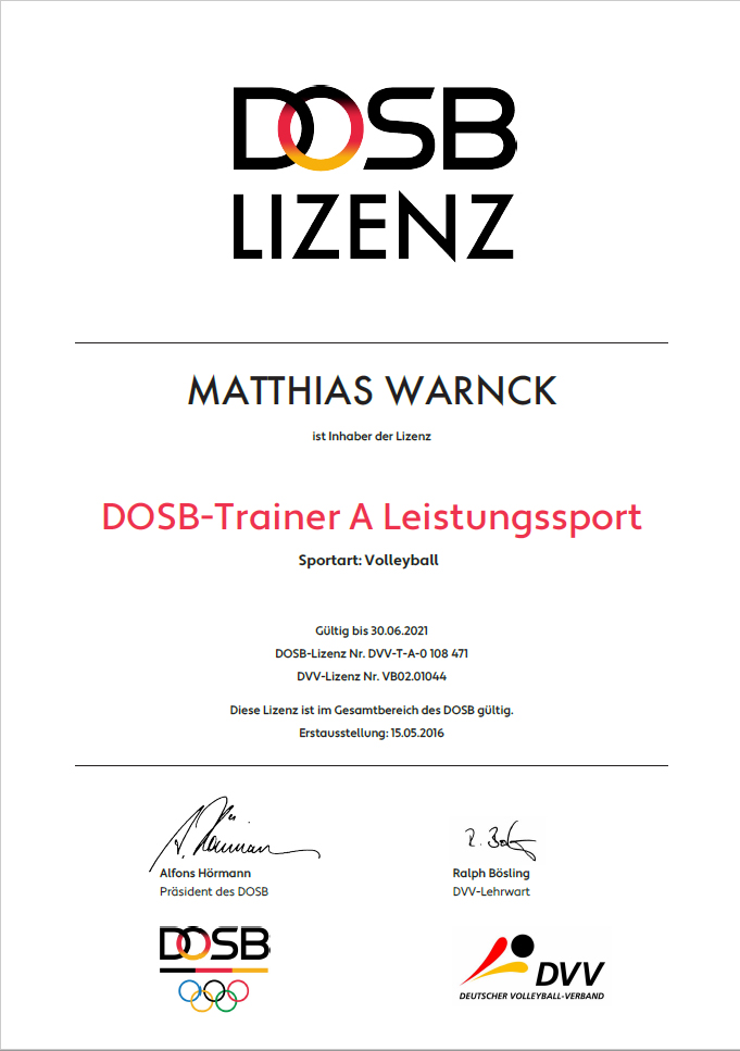 Matthias Warnck - Volleyball A Trainer Lizenz