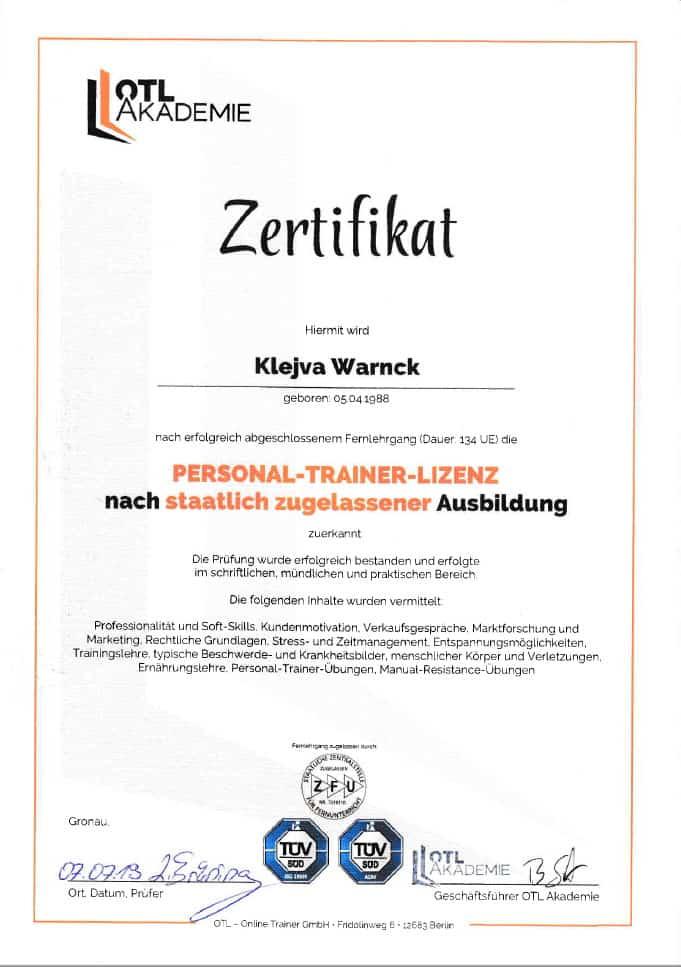 klevi-personal-trainer-lizens
